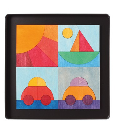 Magnet puzzle car, boat and sun